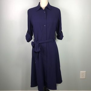 Lauren Ralph Lauren Navy Button Down Dress Sz 6